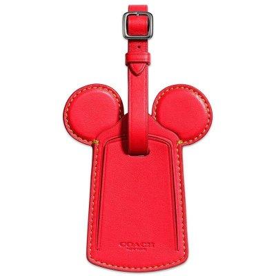 【直營】Disney x Coach 蔻馳 聯名限量版 58945米奇耳朵行李吊牌 紅色 吊牌 牛皮 箱包配件