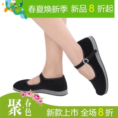 丹诗戈舞蹈鞋秧歌鞋一带鞋广场舞带跟鞋平跟鞋绒布民间舞鞋