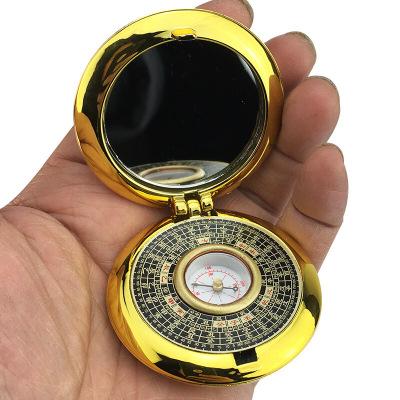 2寸風水純銅小圓羅盤 羅經儀八卦鏡帶蓋全自動袖珍小羅盤定制定制