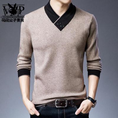 花花公子贵宾 羊毛衫男秋冬加厚款中青年男士针织套头毛衣韩版潮流新款羊绒衫