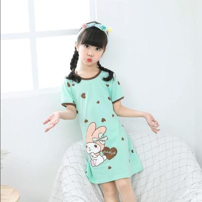 女童睡裙纯棉短袖夏季中大童女孩睡衣空调家居服连衣裙亲子装薄款