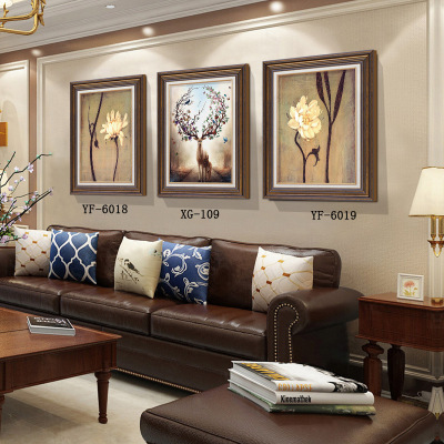 美式乡村装饰画 玄关画 客厅沙发背景墙挂画 新中式餐厅三联画