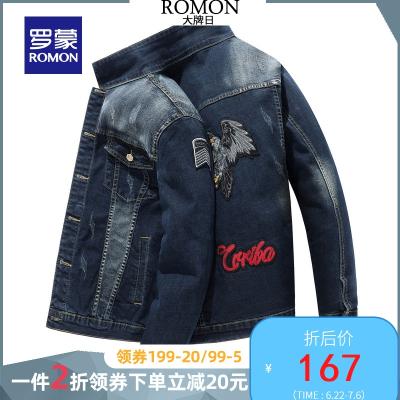 羅蒙ROMON牛仔外套男士2020春季新款字母印花男裝青年韓版潮流短款夾克