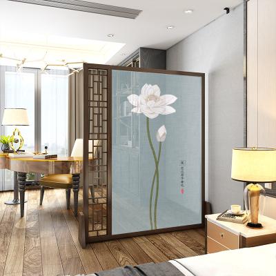 半透落地座屏新中式實木現代簡約屏風隔斷客廳明家用客廳玄關鏤空