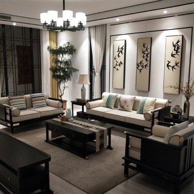 新中式沙發現代中式古典禪意別墅客廳實木布藝沙發中國風家具定制