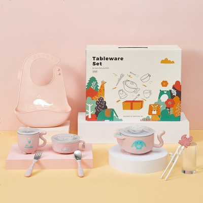 babycare寶寶餐具禮盒兒童學習筷硅膠飯兜嬰兒輔食注水保溫碗 伊達爾草原2526