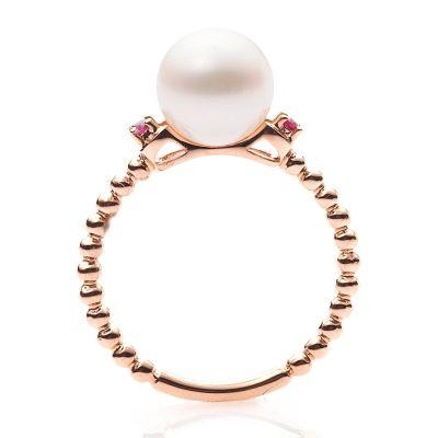 緣源珠寶 純真時光淡水珍珠戒指18K金鑲嵌紅寶石時尚百搭送女友送老婆禮物支持定制指圈