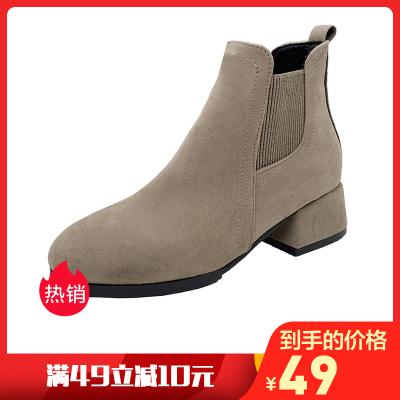 靴子女2019冬季新品平底切尔西靴女英伦风短靴加绒保暖马丁靴女中跟