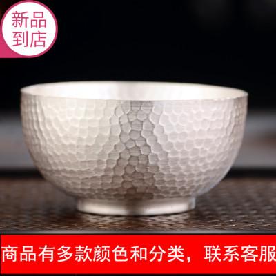 纯手工足银999杯子纯银茶杯主人杯锤纹纯银功夫小茶碗