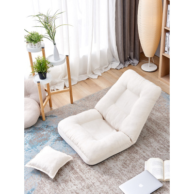 唐臻布藝床上懶人沙發榻榻米單人臥室折疊靠背無腿飄窗椅日式