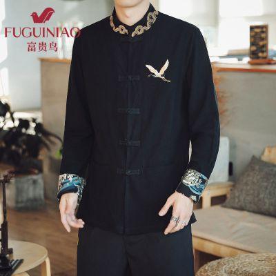 富貴鳥2020年中國風男裝唐裝漢服中山裝國風復古裝古風中式外套棉衣潮牌秋季