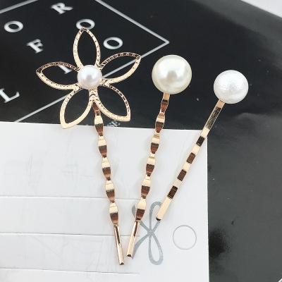 韓國五葉花瓣波浪發夾珍珠一字夾新娘盤發發飾韓版飾品三件套頭飾