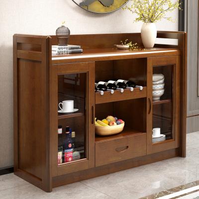 實木餐邊柜儲物柜現代中式餐廳實木家具組合客廳酒柜