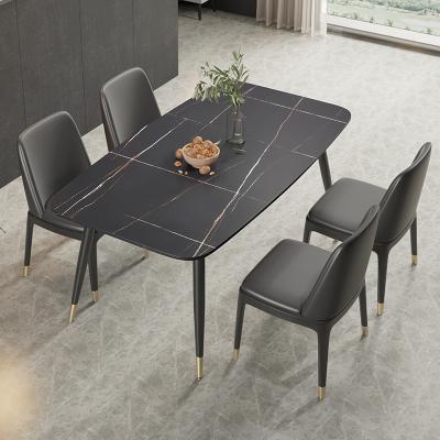 金沙公爵 北歐黑金大理石餐桌椅組合輕奢小資家用小戶型現代簡約長方形巖板餐桌吃飯桌