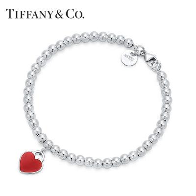 Tiffany&Co.蒂芙尼925銀手鏈 經典紅色琺瑯珠式手鏈