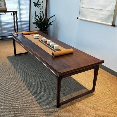 杞沐日式小茶几榻榻米矮桌黑胡桃木长条实木桌子中式禅意茶桌榆木炕桌