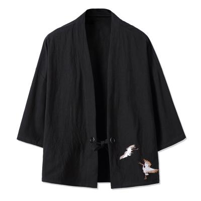 莎丞 中國風外套七分袖男唐裝漢服日系日式和風開衫道袍和服亞麻寬松夏