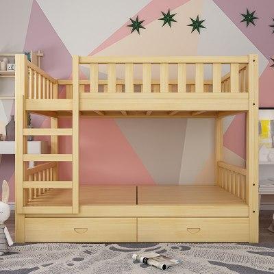 雙人床上下鋪上下鋪木床全實木高低床成人床成年宿舍床上下床雙層床