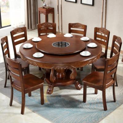 家用带转盘电磁炉实木餐桌圆形饭桌椅组合橡木大园桌子中式火锅桌