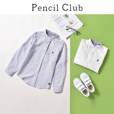 铅笔俱乐部童装2019秋装新款男童翻领衬衫中大童长袖上衣儿童衬衫