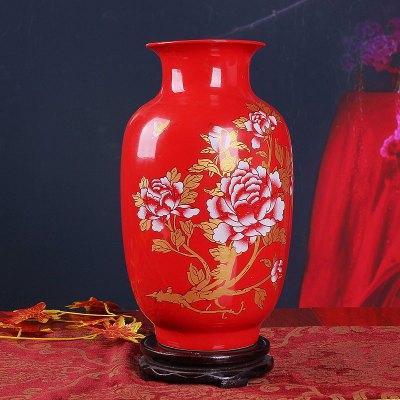 古笙記 景德鎮陶瓷器 中國紅牡丹冬瓜花瓶 家居裝飾品新房擺件 裝飾擺件