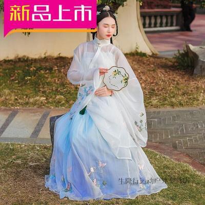 因樂思(YINLESI)戶外中國風秋裝女襦裙三件套大袖衫漢服改良廣繡立領漢服女 【化蝶】三件套