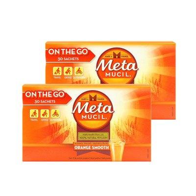 【2盒】美國Metamucil美達施膳食纖維粉香橙味177g30次/袋裝纖維素清腸去油膩便養胃果蔬粉2022年9月到期