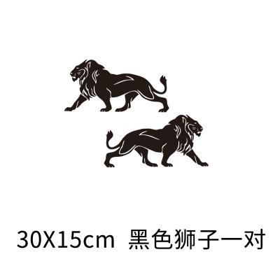 獅子圖騰貼紙創意個性車貼遮擋劃痕車身刮痕裝飾汽車拉花改裝 30x15cm 黑色一對 抖音