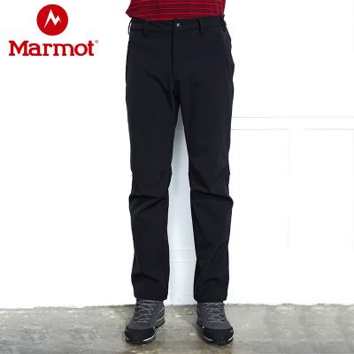 Marmot/土撥鼠秋冬防風防潑水耐磨透氣加絨保暖M1男士軟殼褲