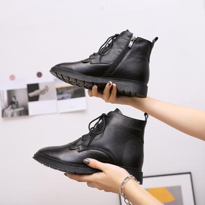 雅夢纖足頭層牛皮 馬丁靴女真皮加絨短靴新款中筒女鞋英倫風休閑鞋高筒韓版雪地皮靴子百搭短靴女