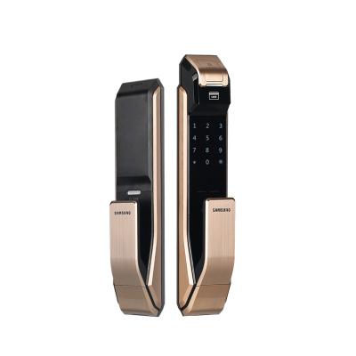 三星(SAMSUNG)指纹锁 家用防盗门智能/指纹/密码/钥匙智能安防门锁 SHS-P718(香槟金)