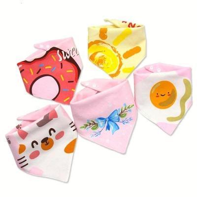 【五条装】婴儿口水巾宝宝三角巾纯棉双层按扣防水婴儿围嘴儿童围巾秋冬