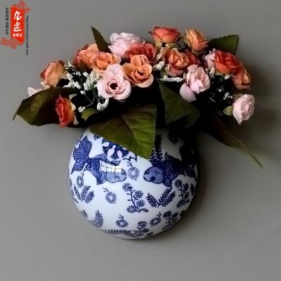 古笙記 景德鎮青花瓷陶瓷墻飾掛飾壁飾創意客廳背景墻裝飾壁掛件小花插