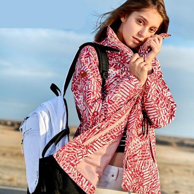 伯希和戶外單層沖鋒衣女士春秋潮牌印花中長款防風滌綸透氣耐磨防水保暖外套