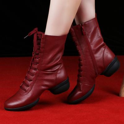 因樂思(YINLESI)春夏季舞蹈鞋女現代廣場舞蹈靴透氣鏤空健身水兵跳舞鞋
