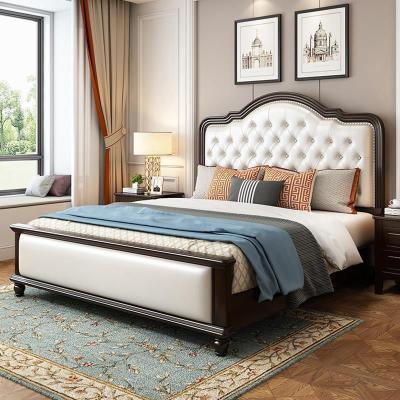 卡愛菲 實木床歐式雙人床白色現代簡約橡木床1.5米1.8米雙人美式婚床臥室公主高箱儲物床