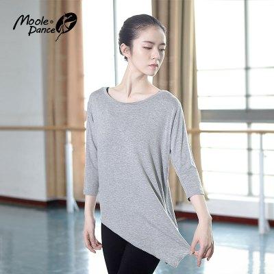 小茉莉大斜邊現代舞服練功服女成人舞蹈服短袖圓領莫代爾寬松上衣