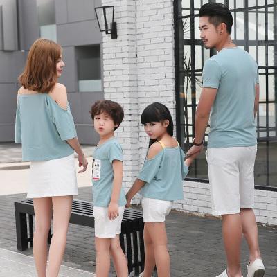 子裝夏裝短袖T恤潮一家三口四口家庭裝母女母子裝