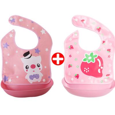 【2個裝】嬰兒寶寶吃飯圍兜兒童防水免洗可拆立體飯兜圍嘴大號口水兜
