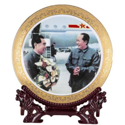 每日精進(enhancement) 景德鎮陶瓷金邊毛澤東像掛盤墻飾現代家居客廳辦公桌偉人擺件