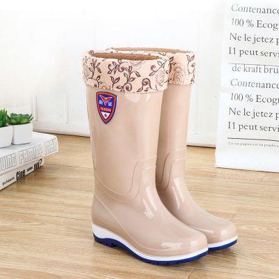 雨鞋女高筒加絨保暖防滑雨靴中筒水靴防水鞋女膠鞋套鞋時尚長筒冬 莎丞