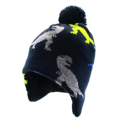 NOABAT兒童帽子秋冬季男童護耳帽恐龍套頭帽抓絨毛線帽寶寶針織帽