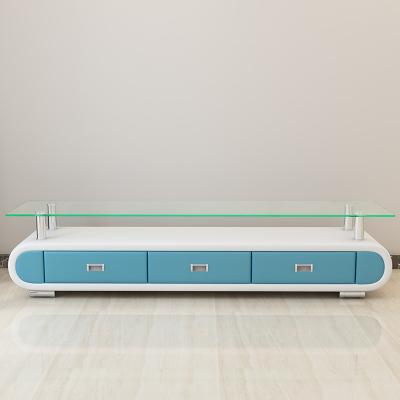 歐梵森 現代簡約電視柜皮藝小戶型茶幾電視柜組合 鋼化玻璃電視柜 鋼化玻璃茶幾 天藍色