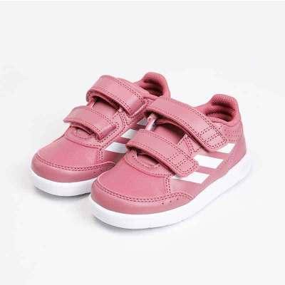 adidas阿迪達斯兒童運動休閑鞋 女訓練鞋女嬰童寶寶輕便魔術貼耐磨運動鞋訓練鞋B37976 0-3歲嬰童款