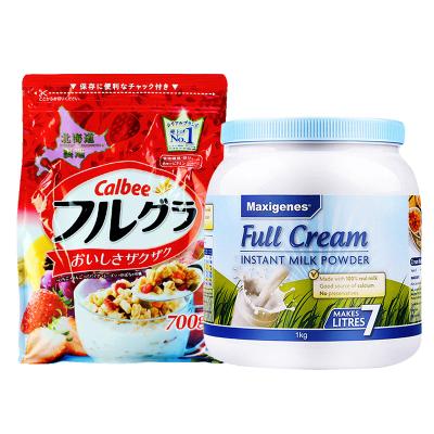 2件裝|卡樂比Calbee北海道富果樂水果麥片700g+Maxigenes美可卓全脂奶粉1kg/罐