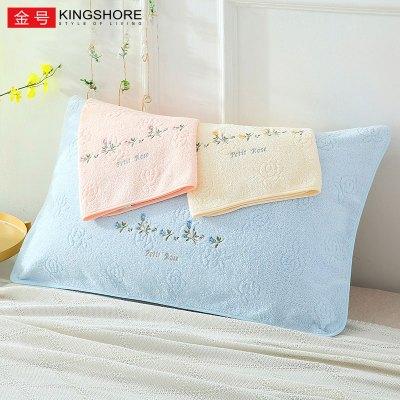 金號KING SHORE純棉玫瑰花枕巾2條套裝枕頭套件品牌素色柔軟吸水枕巾花朵/草/葉子50*80cm
