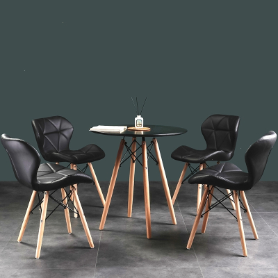 餐桌椅奶茶店黑色圆桌子简约白色餐桌会议室休息区古达接待会客洽谈桌椅组合