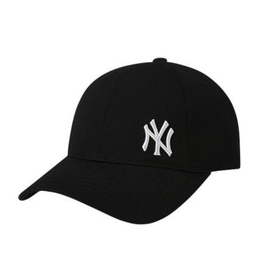 MLB棒球帽黑白色小NY側標飄帶可調節四季新款鴨舌帽百搭街頭遮陽男女款帽子