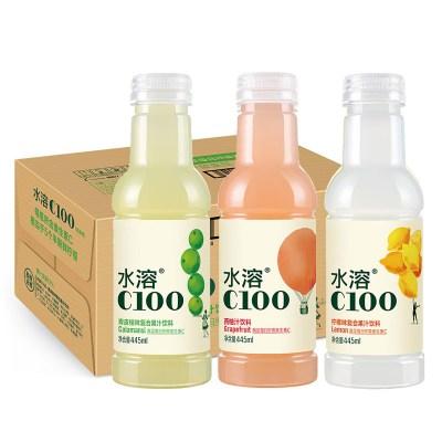 農夫山泉水溶C100檸檬味西柚445ml*15瓶整箱復合果汁混合口味飲料