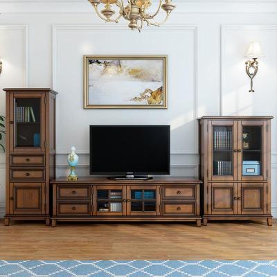航竹坊 美式实木电视柜组合简约客厅视听柜地柜茶几组合墙储物柜电视机柜